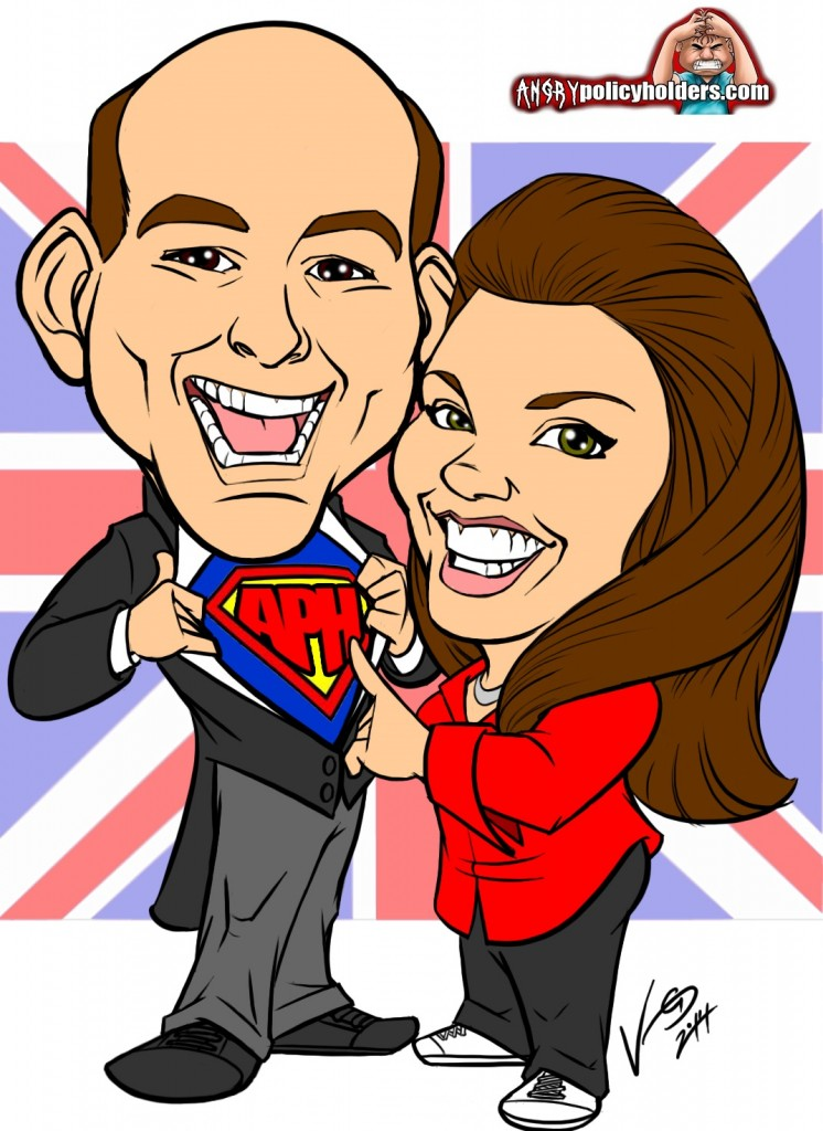 Christopher and Nicola Caricature with APH logo